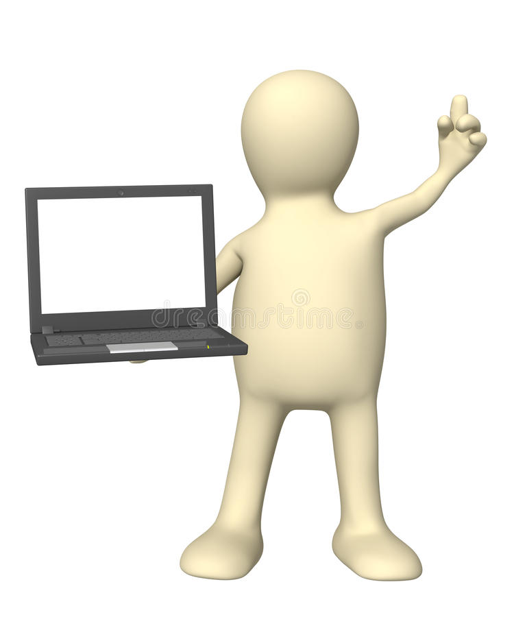 3d Puppet With Laptop In Hand Royalty Free Stock Photos