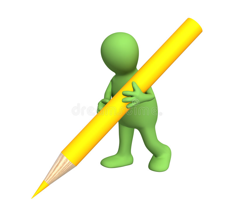 3d puppet with a pencil of yellow color stock illustration