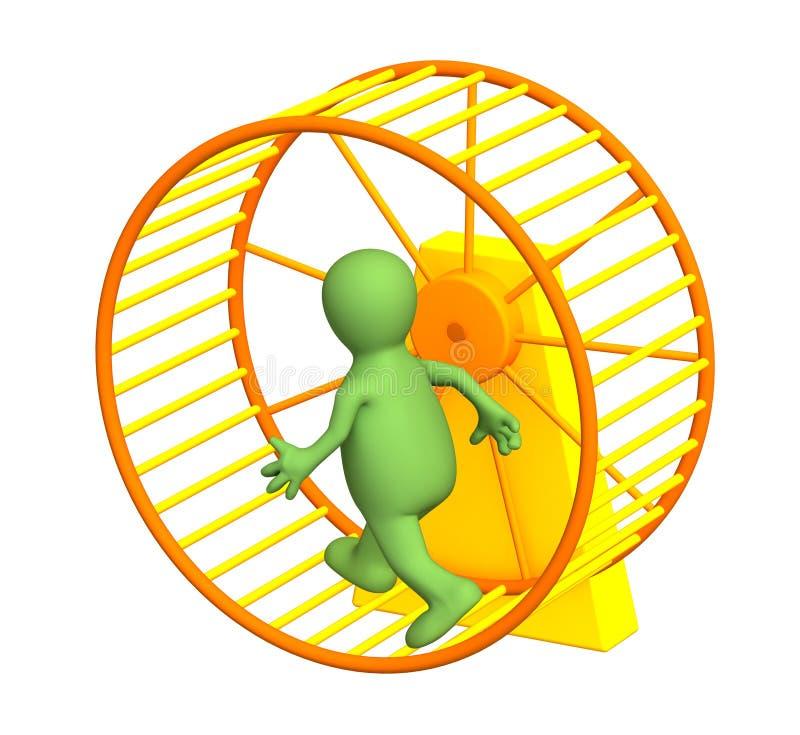 Download 3d Puppet, Running Inside A Wheel Stock Illustration - Image: 7310042