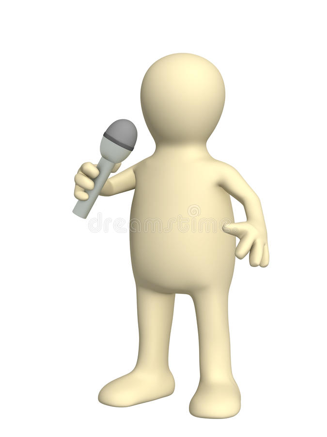 3d Puppet, Singing With A Microphone Royalty Free Stock Photo