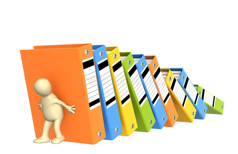 Download 3d Puppet, Supporting Falling Folders Stock Illustration - Image: 13524046