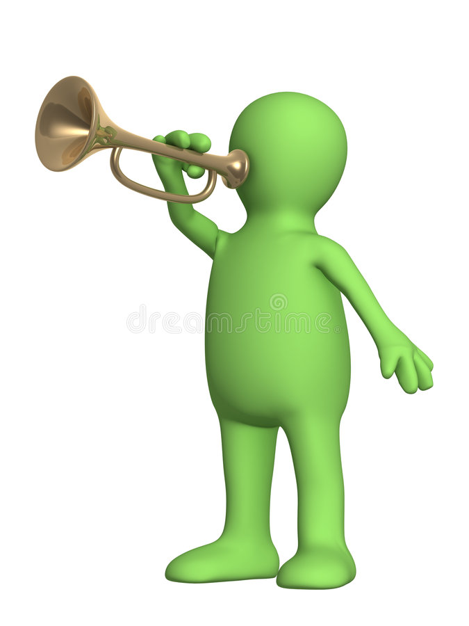 Download 3d puppet trumpeter stock image. Image of melody, news - 6948435