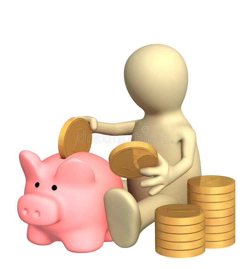 Download 3d Puppet Who Is Saving Money In Piggy Bank Stock Photo - Image: 6948454