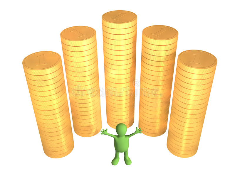 3d puppet, worth near to columns of gold coins