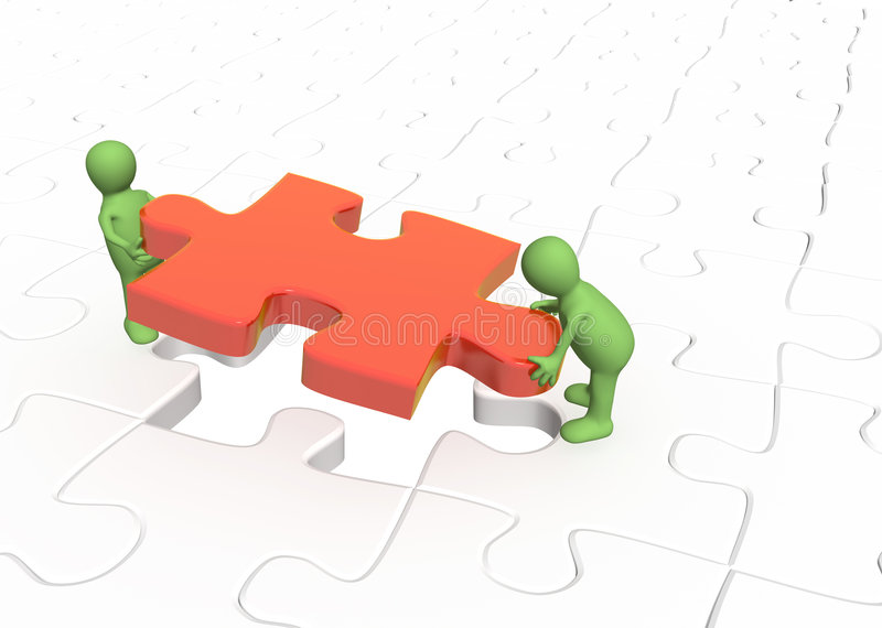 3d Puppets Installing Red Part Puzzle Stock Image
