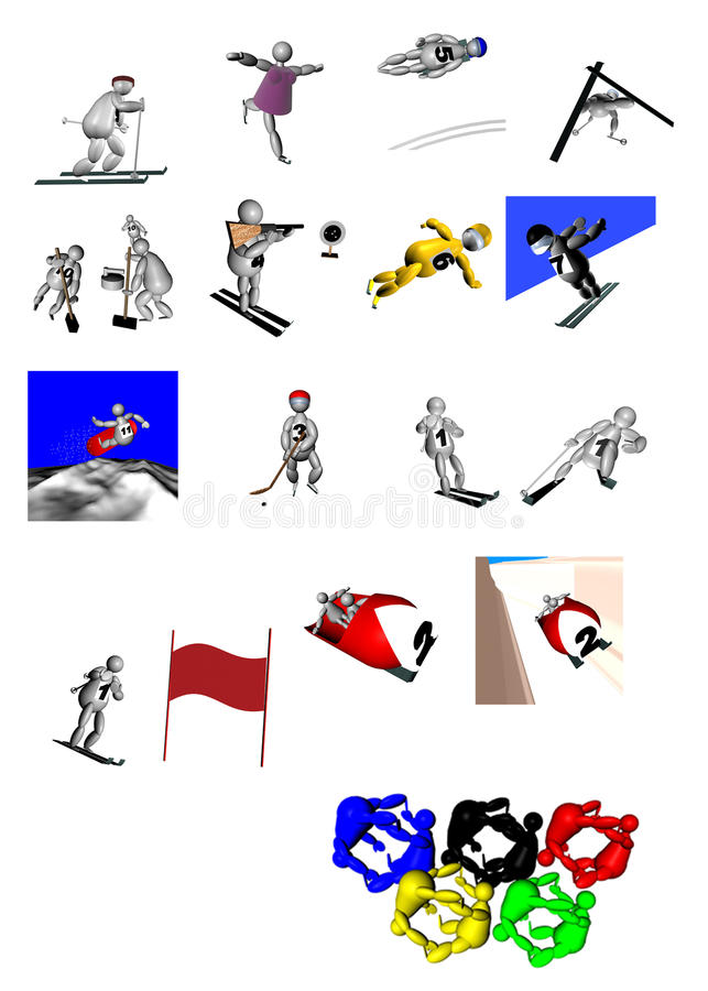 Download 3D Puppets At Winter Olympic Games Stock Illustration - Illustration of center, dance: 12157726