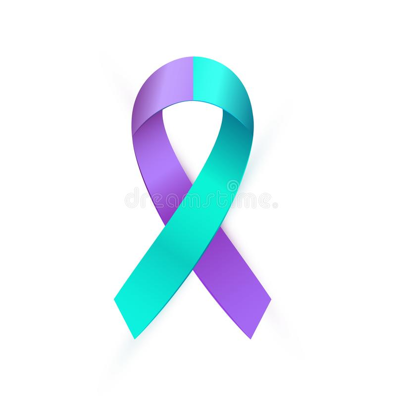 Free 3d Purple Blue Ribbon For Suicide Prevention Awareness Royalty Free Stock Images - 128314099