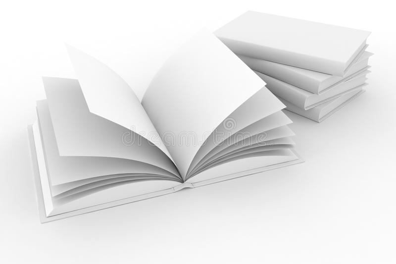 3d pustej książek pokrywy odosobnione strony royalty ilustracja