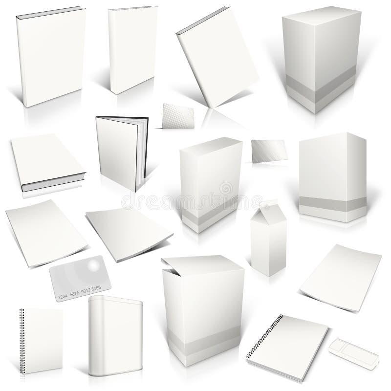 3d pusty kolekci pokrywy biel ilustracji