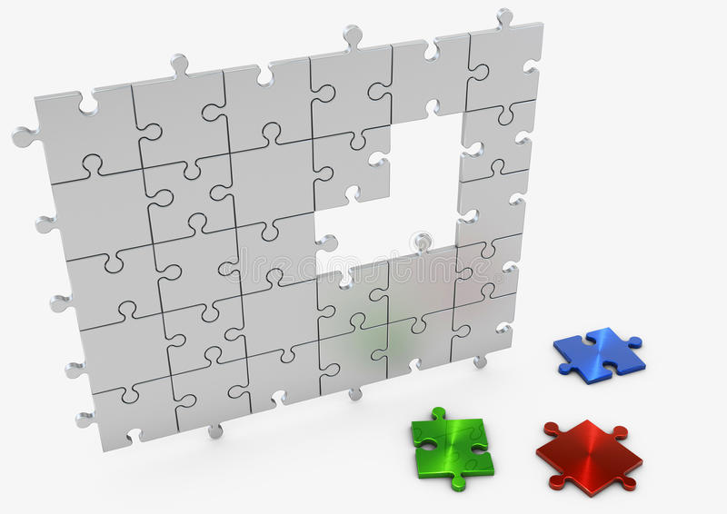 3d puzzle. Incomplete Puzzle with three loose colored pieces vector illustration