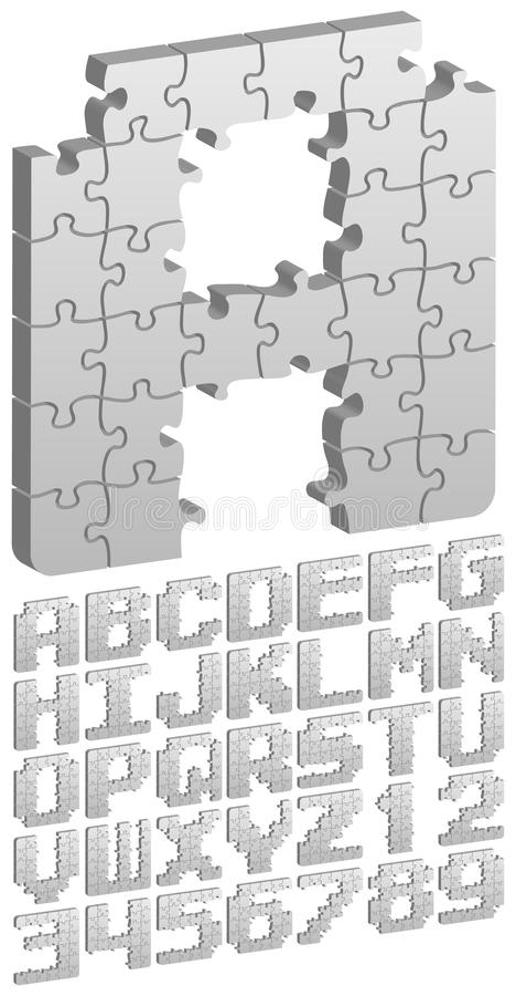 3D Puzzle Alphabet/eps royalty free illustration
