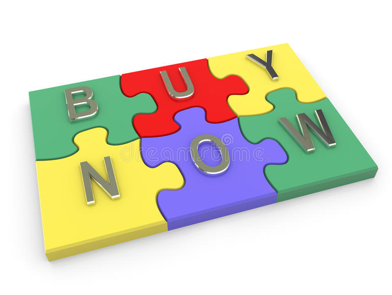 3d puzzle with buy now text royalty free illustration