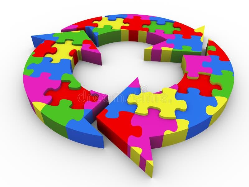 3d puzzle dell'organigramma illustrazione vettoriale