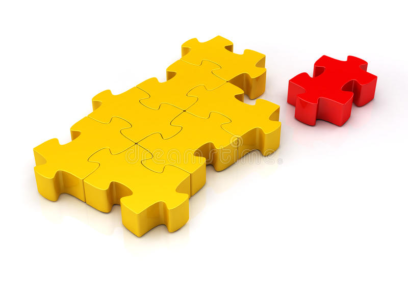 3d, puzzle isolato su bianco illustrazione vettoriale