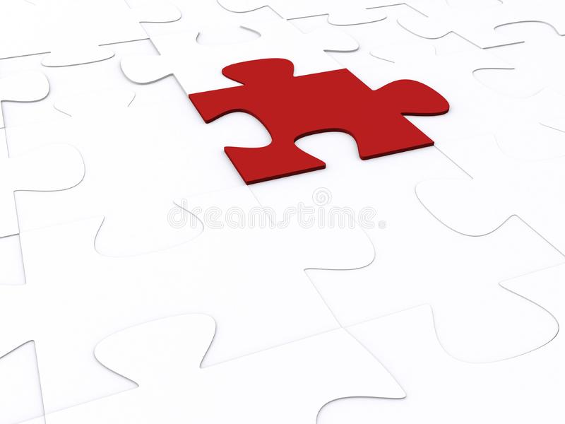 3d puzzle, red piece royalty free stock photo