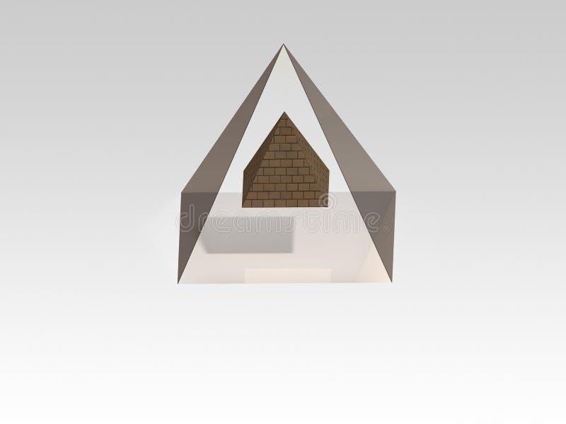 3D pyramid. Two three-dimensional pyramids, small pyramid is in the big pyramid stock illustration