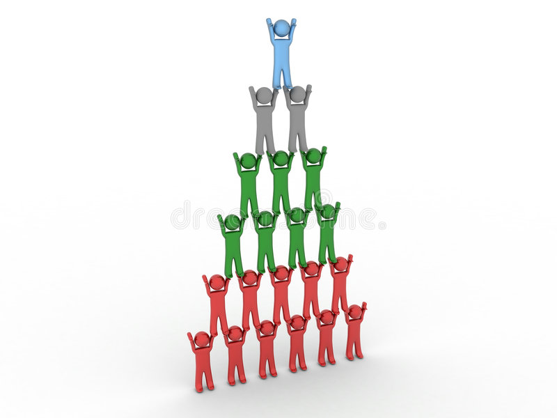 3d pyramid of people stock photo