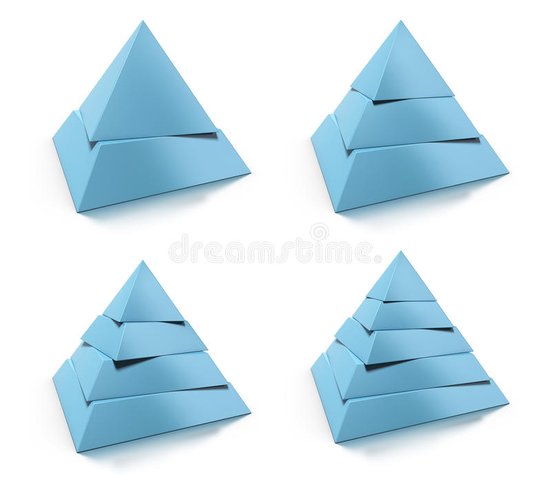 3d pyramid, two, three, four and five levels royalty free illustration