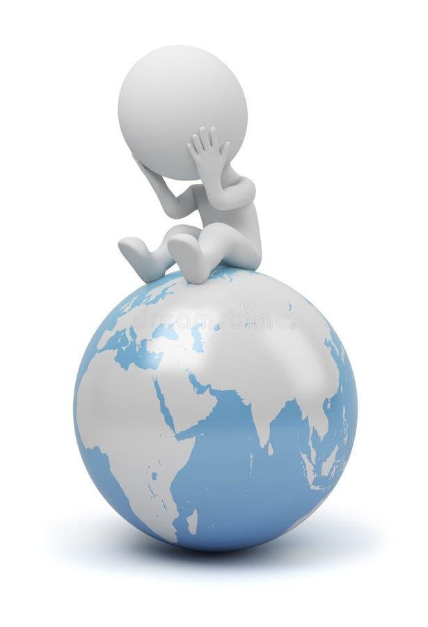 3d pytań małych globalni ludzie royalty ilustracja
