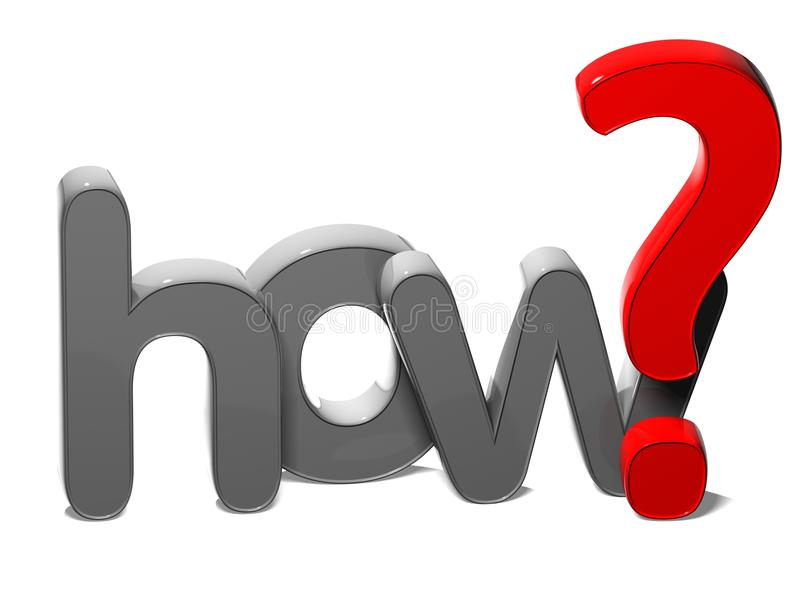3D Question Word How on white background.  royalty free illustration