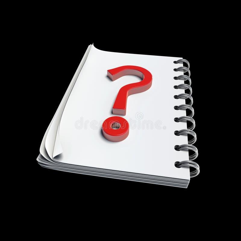 3D - Questionmark scritto sulla nota illustrazione vettoriale