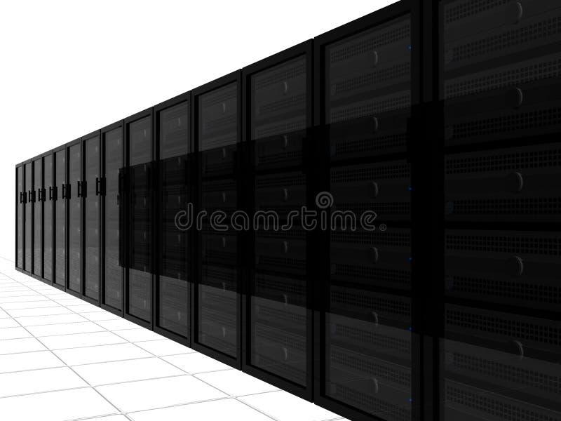 3d racks serveren stock illustrationer