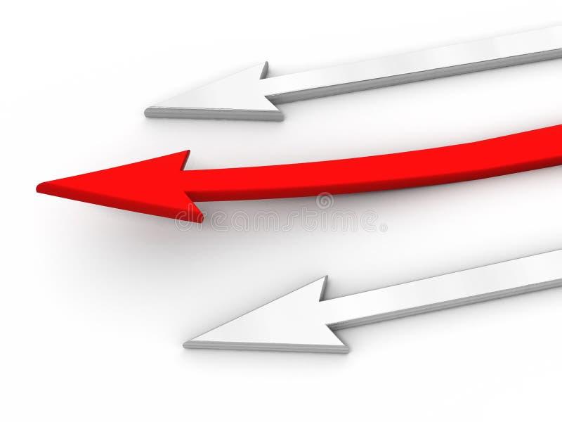 3D rad arrow. Competition concept. stock illustration