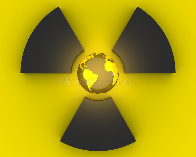 3D radioactivity symbol stock photography