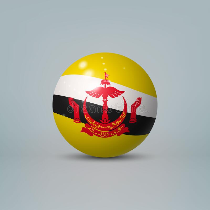 Free 3d Realistic Glossy Plastic Ball Or Sphere With Flag Of Brunei Stock Photo - 200482530
