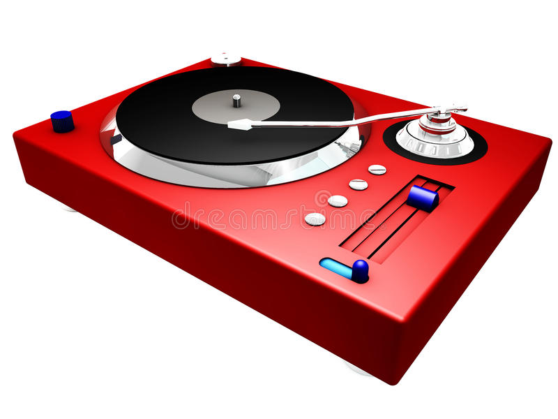 3d record player. 3d red and silver record player vector illustration