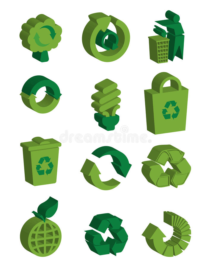 3d recycle symbols. Isolated in white background royalty free illustration