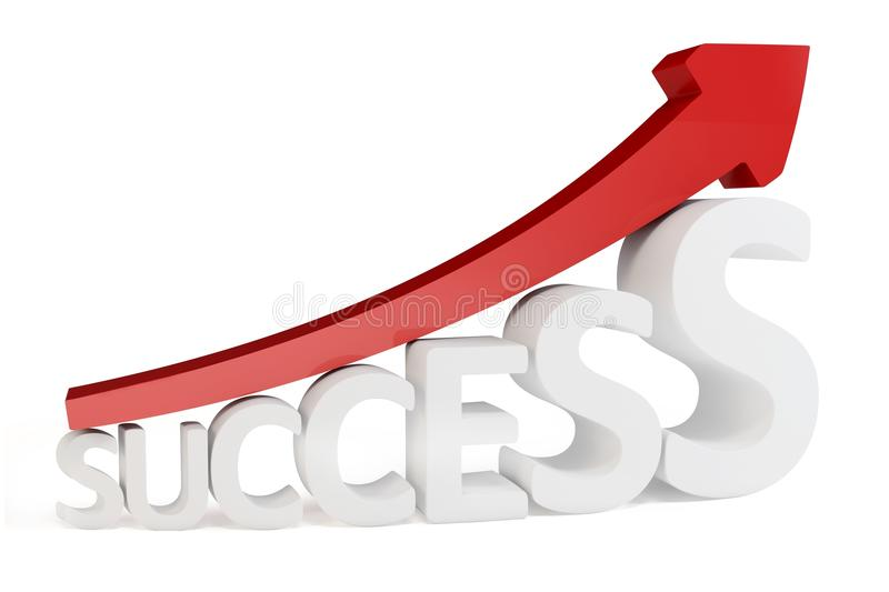 3d red arrow way to success. Isolated on white stock illustration