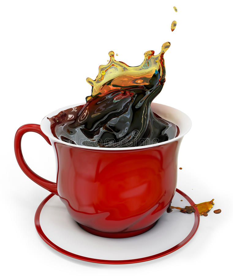 3d red coffee cup with splash royalty free illustration