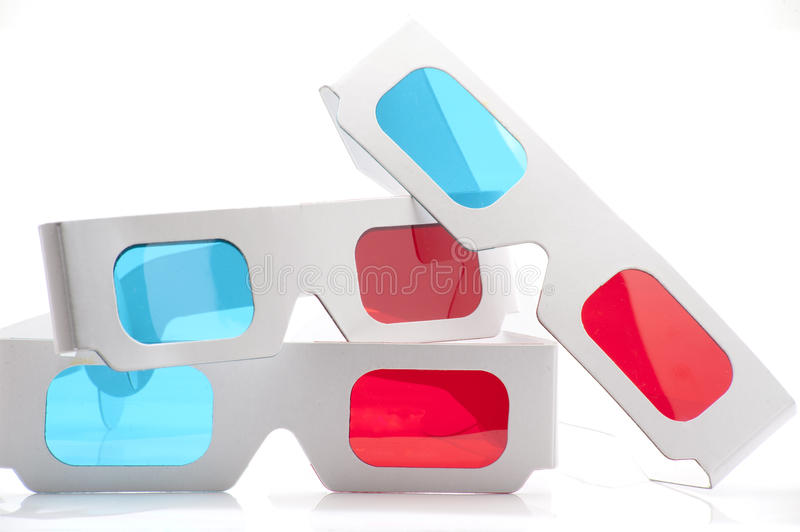 3D red and cyan glasses. On a white background royalty free stock image