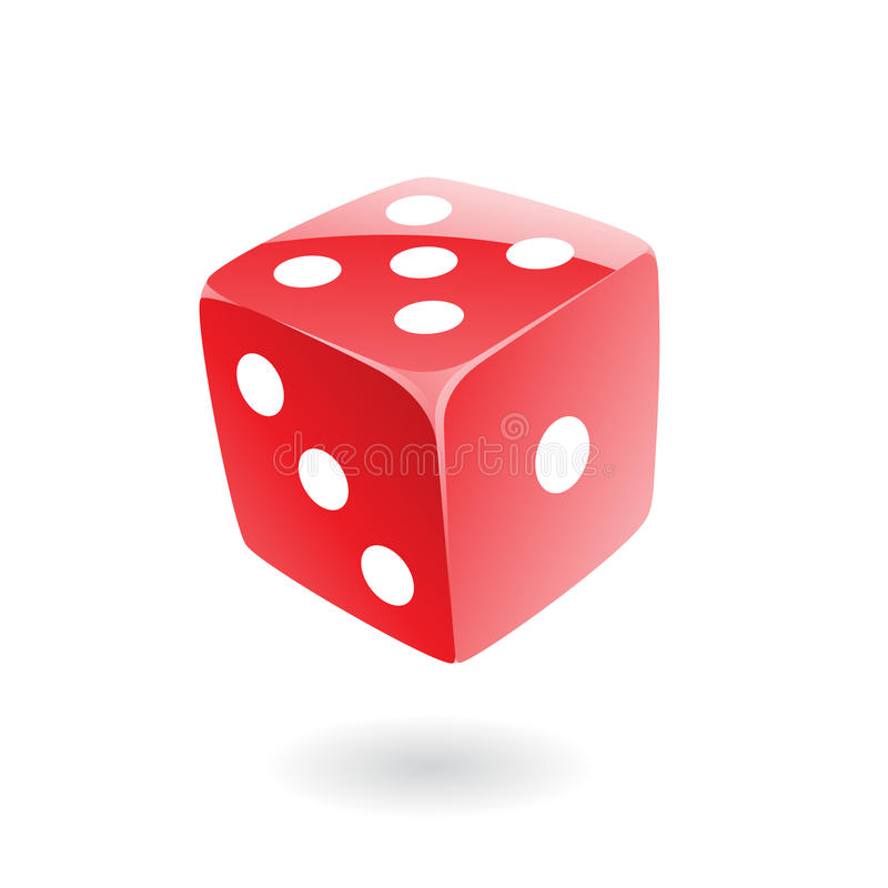 3d red dice. Isolated on white vector illustration