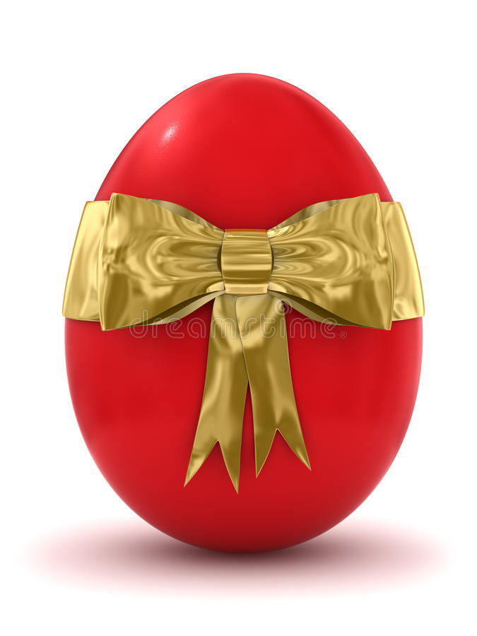 3d Red Easter Egg With Golden Bow Icon Royalty Free Stock Image