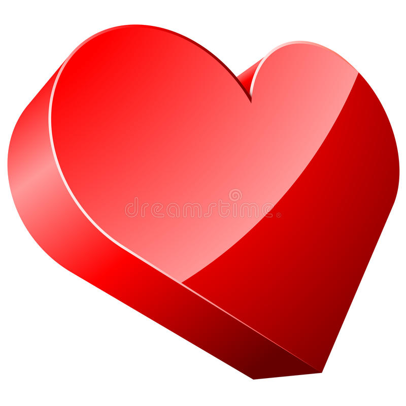 Free 3D Red Heart Royalty Free Stock Image - 12492446