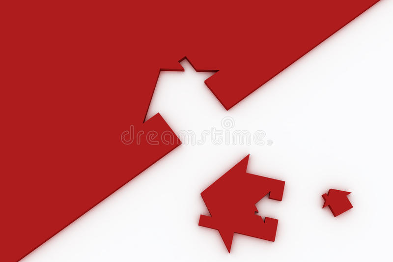 3d Red house sign isolated on white stock illustration
