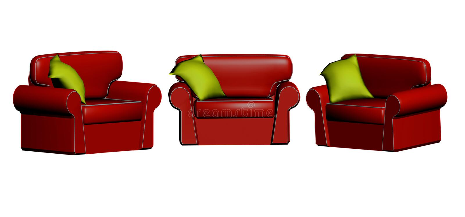 Download 3D red leather chairs stock illustration. Image of leather - 4220354