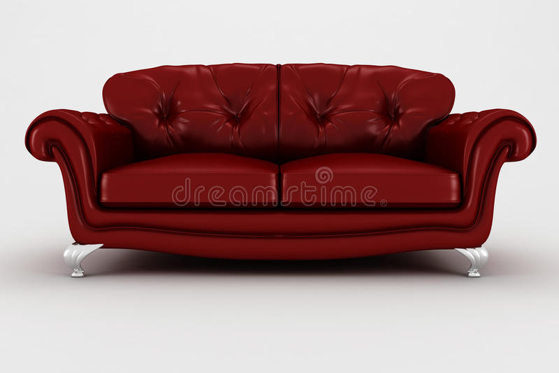 3d red leather couch - studio render vector illustration