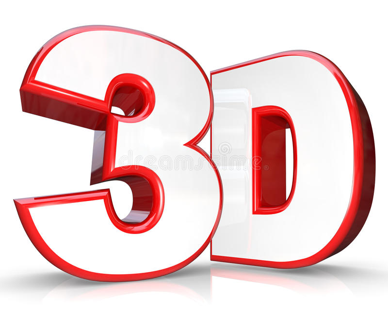 Download 3D Red Letter And Number Three Dimensional Viewing Stock Photo - Image: 21834960