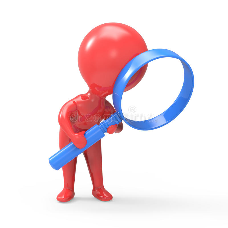 Free 3d Red Man Has A Magnifying Glass Royalty Free Stock Photos - 42143278
