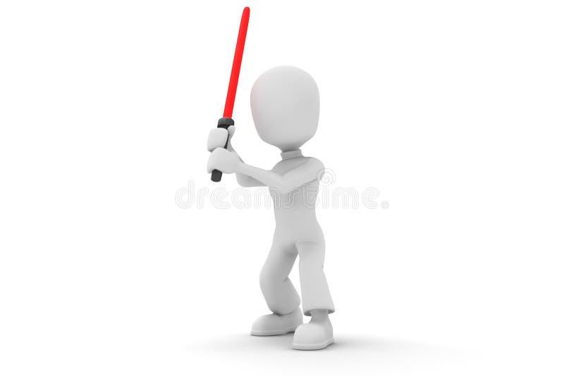 3d red man and a light saber stock illustration