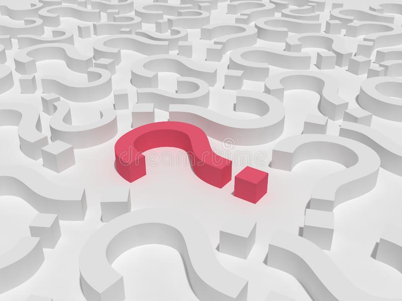 3d Red Question Sign Field royalty free stock photo