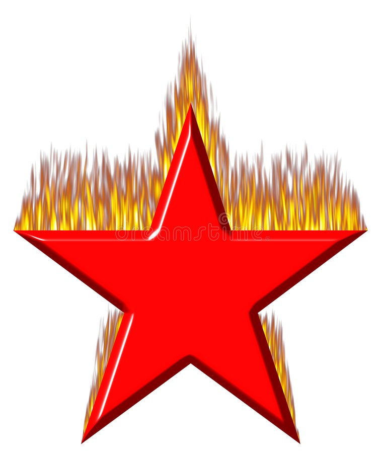 3D Red Star On Fire Royalty Free Stock Photo