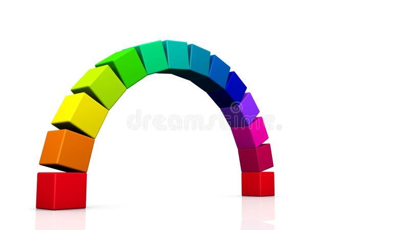3D regenboog kubeert 02 vector illustratie