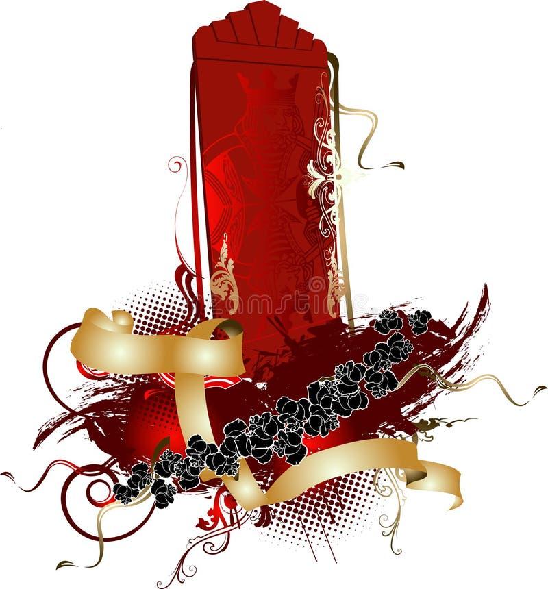 3D rei vermelho vertical Bandeira ilustração do vetor