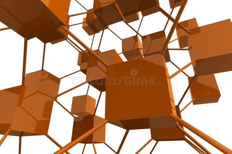 3D rendem cubos com conexões ilustração do vetor