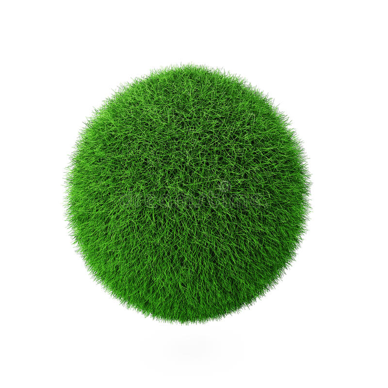 3d rendem da esfera da grama verde no branco ilustração royalty free