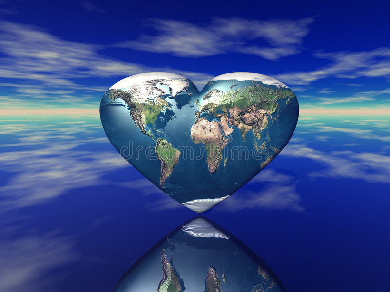 3D rendem da terra dada forma coração do planeta ilustração do vetor